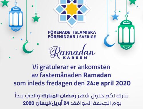 Ramadan börjar inshallah fredagen den 24 april 2020